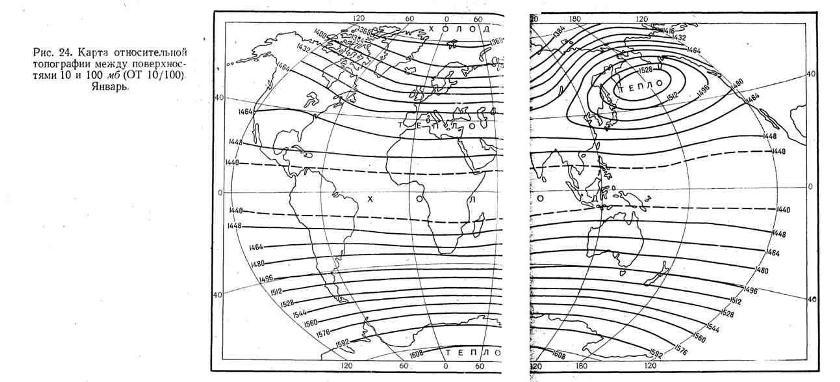 Карта относительной топографии между поверхностями 10 и 100 мб. Январь