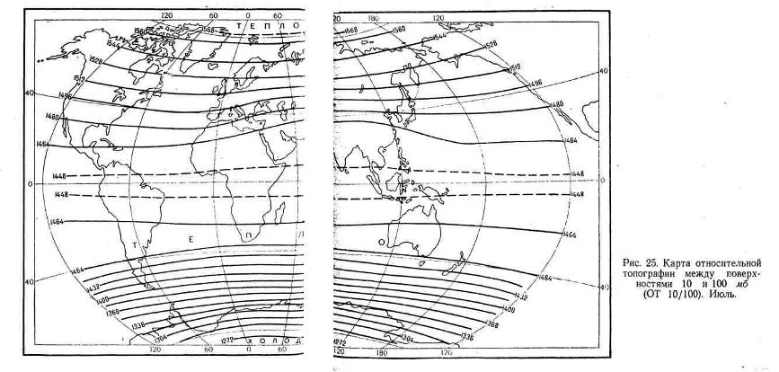 Карта относительной топографии между поверхностями 10 и 100 мб