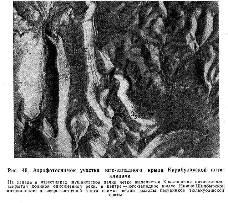 Аэрофотоснимок участка юго-западного крыла Карабулакской антиклинали