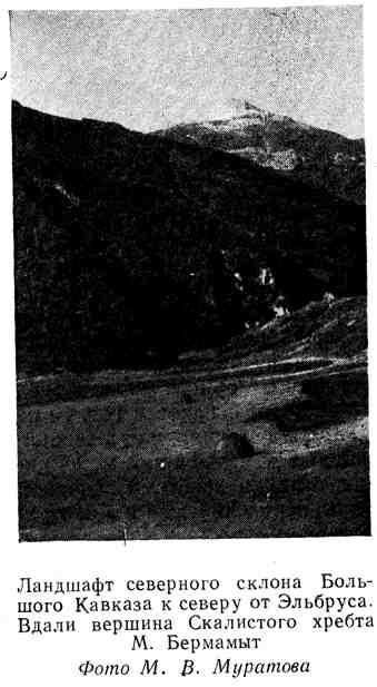 Ландшафт северного склона Большого Кавказа к северу от Эльбруса. Вдали вершина Скалистого хребта М. Бермамыт
