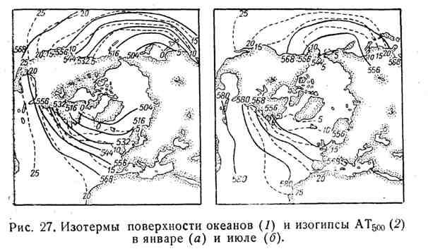 Изотермы поверхности океанов и изогипсы АТ 500 в январе и июле