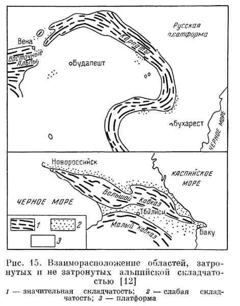 Взаиморасположение областей, затронутых и не затронутых альпийской складчатостью