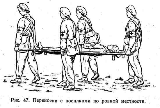 Переноска с носилками по ровной местности