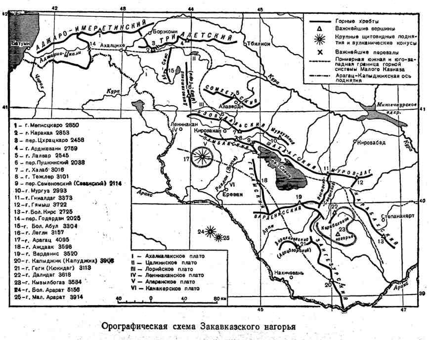 Орфографическая схема Закавказского нагорья