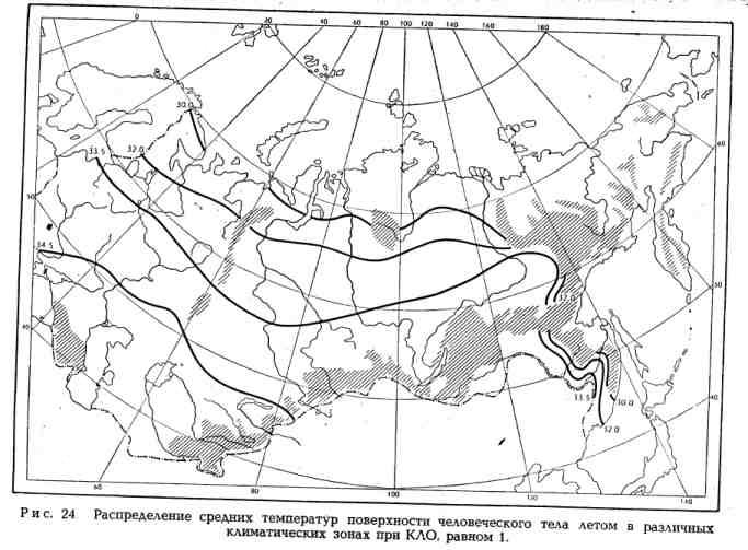 Распределение средних температур поверхности человеческого тела летом в различных климматических зонах при КЛО равном 1
