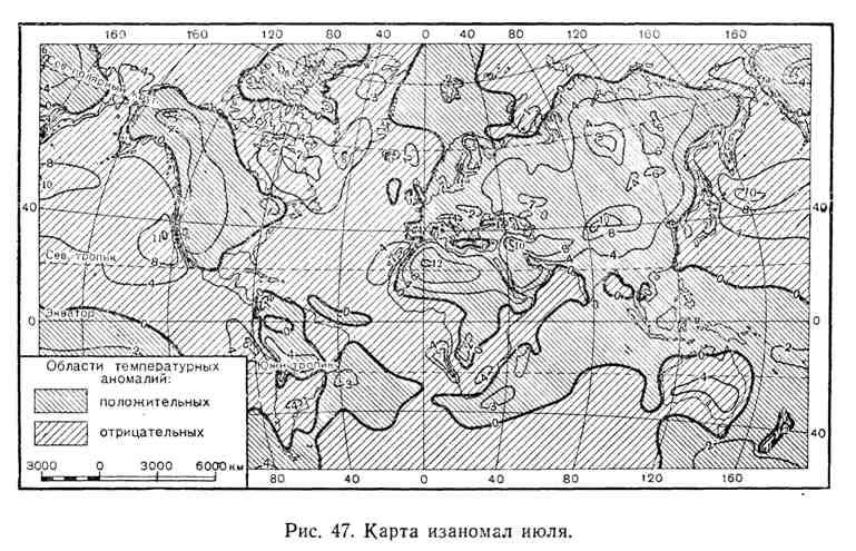 Карта изаномал июля