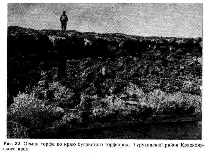 Осыпи торфа по краю бугристого торфяника. Туруханский район Красноярского края