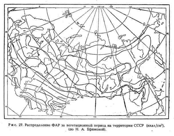 Распределение ФАР за вегетационный период на территории СССР