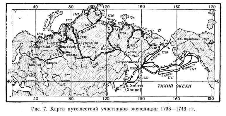 Карта путешествий участников экспедиции 1733-1743 гг.