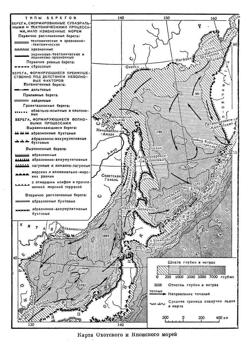 Карта Охотского и Японского морей
