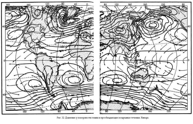 Давление у поверхности земли и преобладающие воздушные течения. Январь