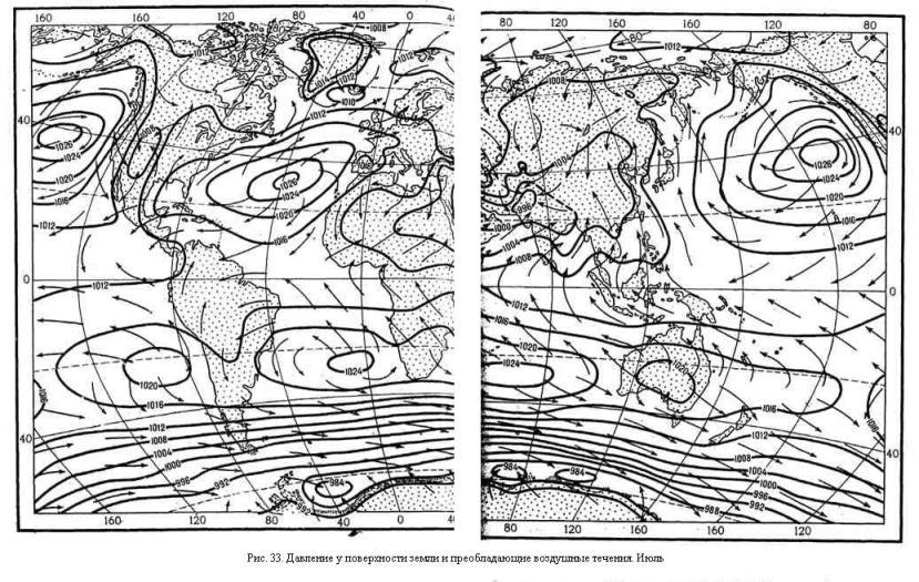 Давление у поверхности земли и преобладающие воздушные течения. Июль