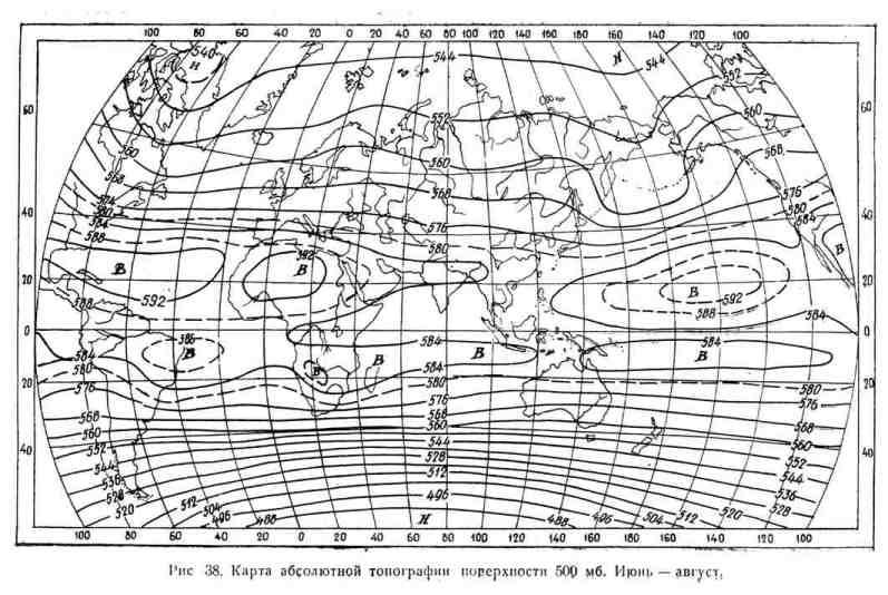 Карта абсолютной топографии поверхности 500 мб. Июнь - август