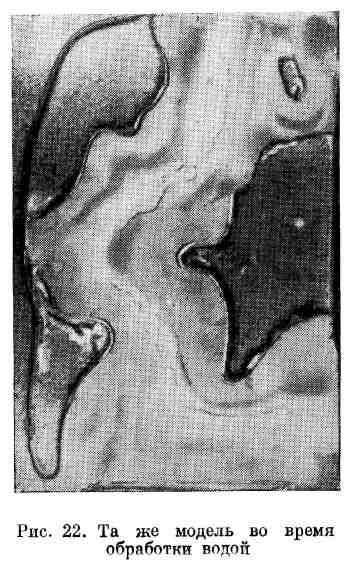 Модель процесса образования срединного хребта во время обработкт водой