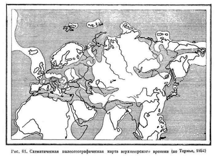 Схематическая палеогеографическая карта верхнеюрского времени
