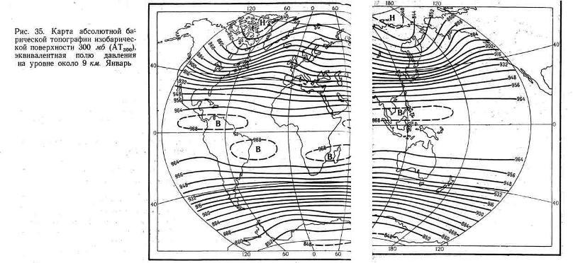 Карта абсолютной барической топографии изобарической поверхности 300 мб, эквивалентная полю давления на уровне около 9 км. Январь
