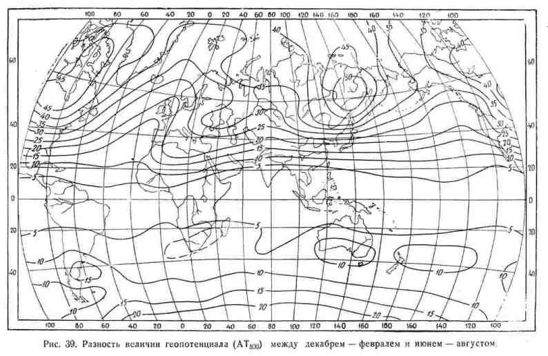 Разность величин геопотенциала (АТ 500) между декабрём - февралём и июнем - августом