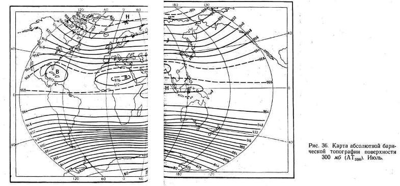 Карта абсолютной барической топографии поверхности 300 мб. Июль