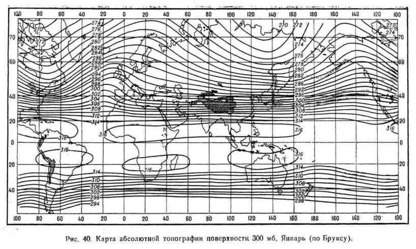 Карта абсолютной топографии поверхности 300 мб. Январь