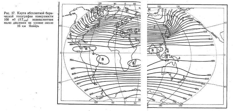 Карта абсолютной барической топографии поверхности 100 мб, эквивалентная полю давления на уровне около 16 км. Январь