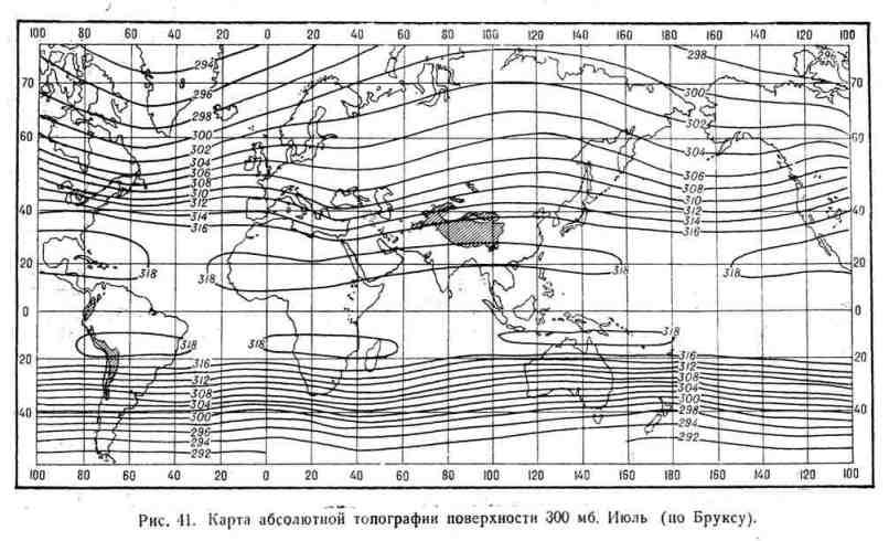 Карта абсолютной топографии поверхности 300 мб. Июль