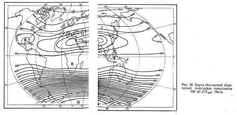 Карта абсолютной барической топографии поверхности 100 мб. Июль