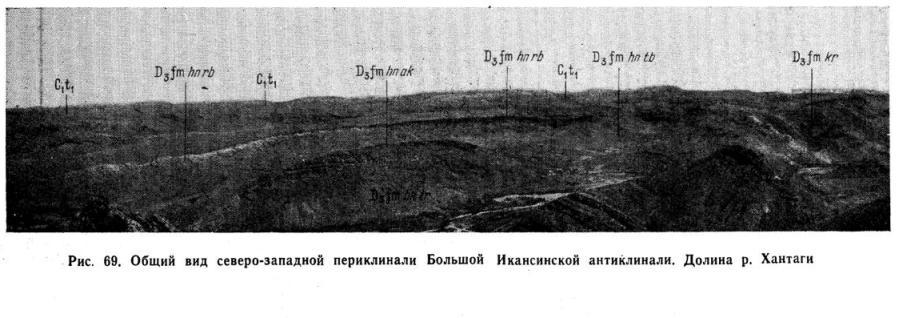 Общий вид северо-западной периклинали Большой Икансинской антиклинали. Долина реки Хантаги