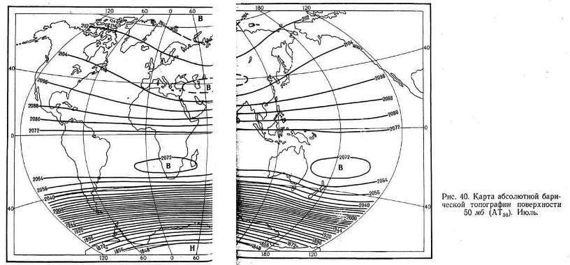 Карта абсолютной барической топографии поверхности 50 мб. Июль