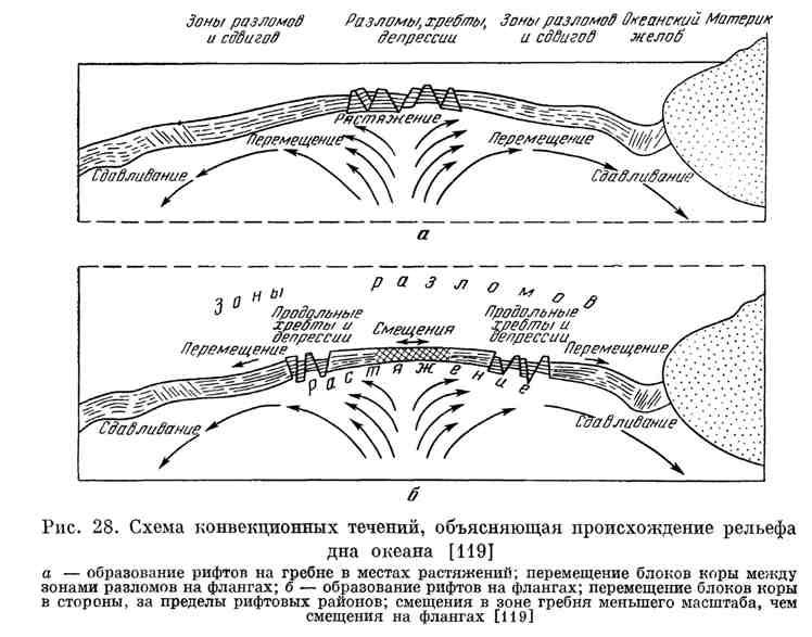 Схема конвекционных течений, объясняющая происхождение рельефа дна океана