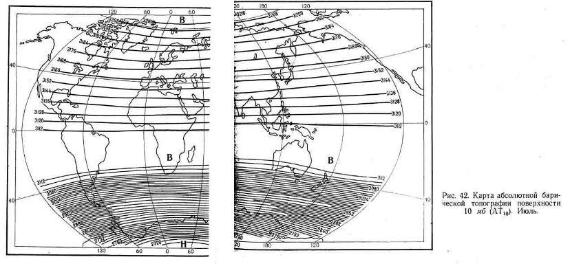 Карта абсолютной барической топографии поверхности 10 мб. Июль