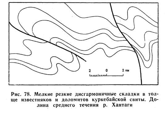 Мелкие резкие дисгармоничные складки в толще известняков и доломитов куркебайской свиты. Долина среднего течения реки Хантаги