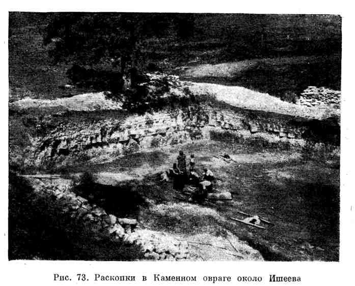 Раскопки в каменном овраге около Ишеева