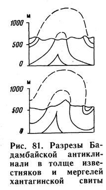 Разрезы Бадамбайской антиклнали в толще известняков и мергелей хантагинской свиты