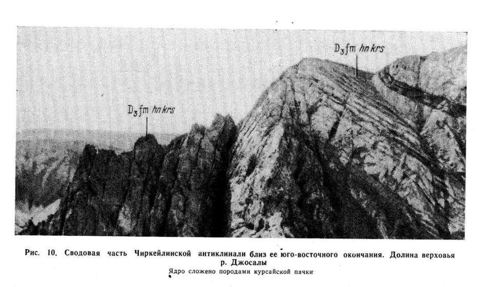 Сводная часть Чиркейлинской антиклинали близ её юго-восточного окончания. Долина верховья реки Джосалы