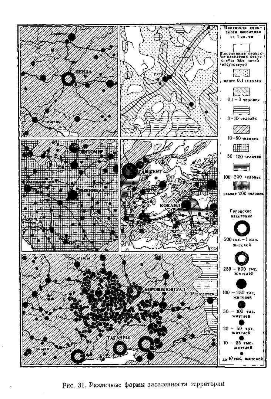 Различные формы заселённости территории