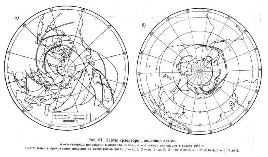 Карты траекторий циклонов летом