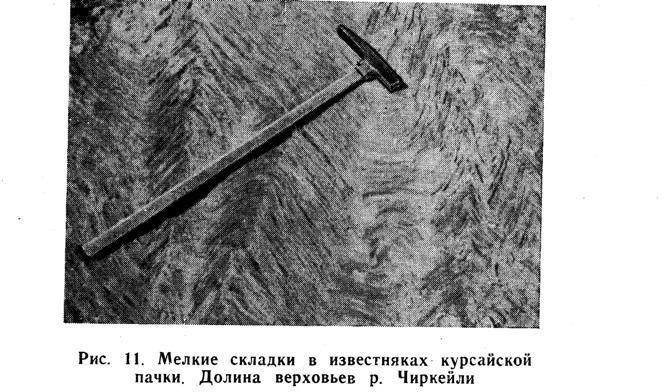 Мелкие складки в известняках курсайской пачки. Долина верховья реки Чиркейли