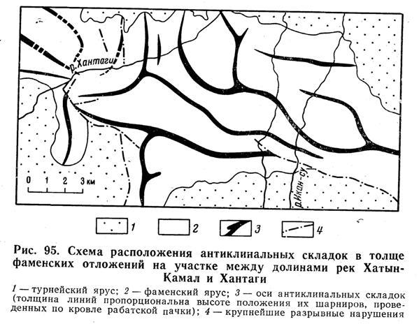 Схема расположения антиклинальных складок в толще фаменских отложений на участке между долинами рек Хатын-Камал и Хантаги
