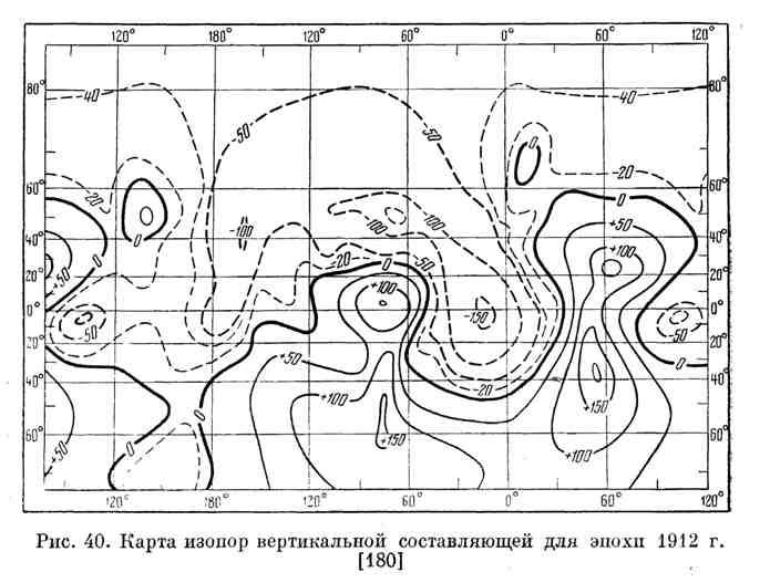 Карта изопор вертикальной составляющей для эпохи 1912 г.