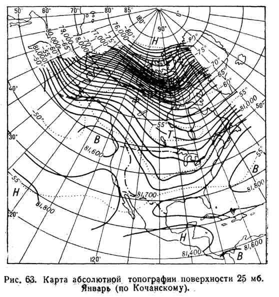 Карта абсолютной топографии поверхности 25 мб. Январь