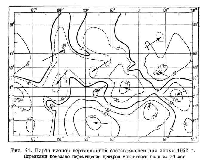 Карта изопор вертикальной составляющей для эпохи 1942 г.