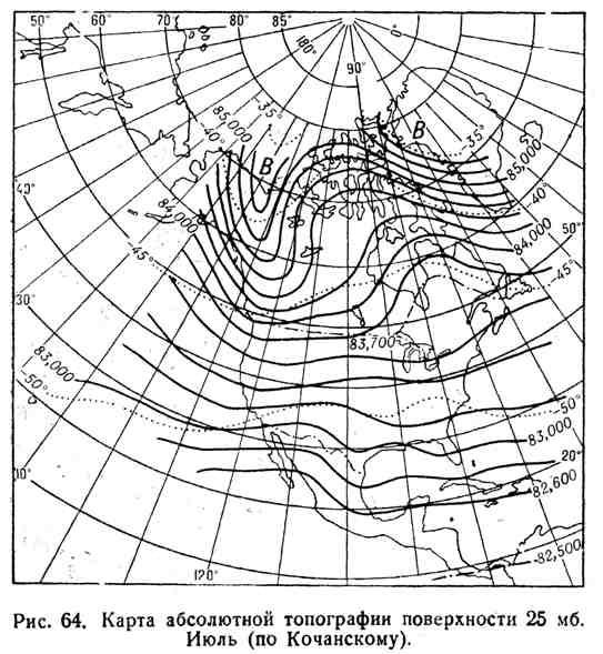 Карта абсолютной топографии поверхности 25 мб. Июль